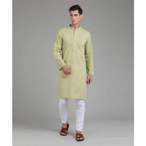 Fabindia Men Solid Straight Kurta(Light Green)