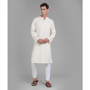 Fabindia Men Solid Straight Kurta(Beige)