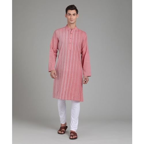 Fabindia Men Self Design Straight Kurta(Pink)