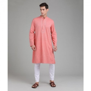 Fabindia Men Solid Straight Kurta(Pink)