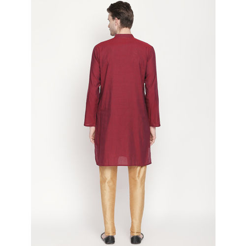 indus route by Pantaloons Men Red Woven Design Straight Kurta