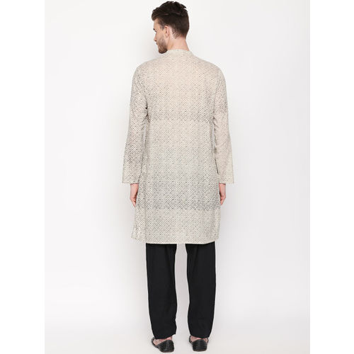 indus route by Pantaloons Men Off-White Striped Straight Kurta