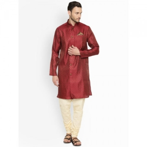 indus route by Pantaloons Men Maroon Woven Design Straight Kurta