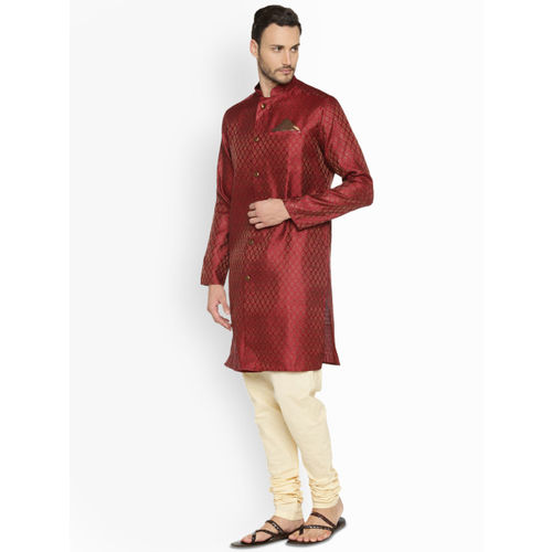 indus route by Pantaloons Men Maroon Woven Design Straight Kurta