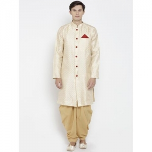 indus route by Pantaloons Men Beige Woven Design Straight Kurta