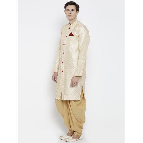 indus route by Pantaloons Men Beige Woven Design Straight Kurta