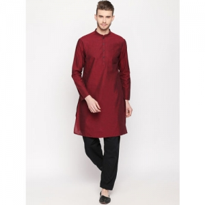 indus route by Pantaloons Men Maroon Solid Straight Kurta