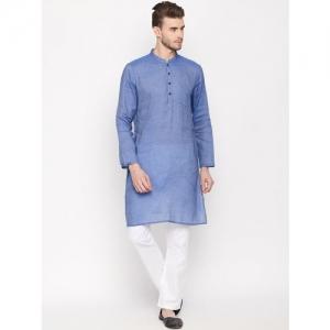 indus route by Pantaloons Men Blue Woven Design Straight Kurta