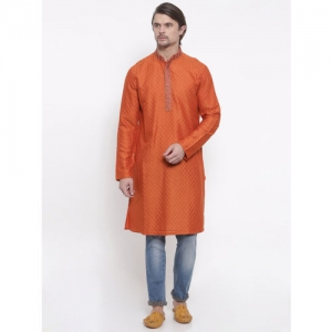 indus route by Pantaloons Men Orange Woven Design Straight Kurta