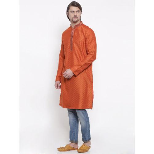 indus route by Pantaloons Men Orange Woven Design Straight Kurta