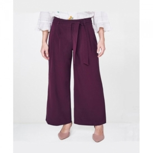 AND Wine Polyester High Rise Regular Fit  Palazzo