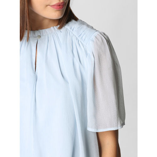 Vero Moda Women Blue Solid Layered Top