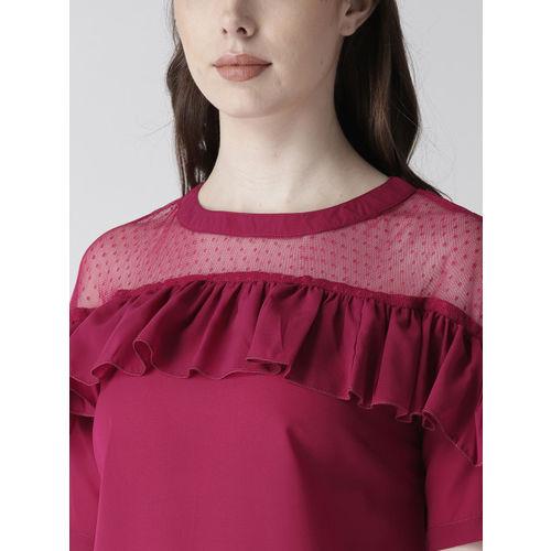 plusS Women Magenta Solid Ruffled Detail Top