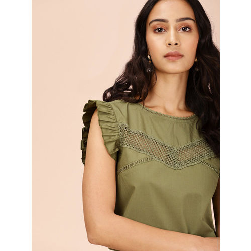 all about you from Deepika Podukone Women Olive Green Solid Top