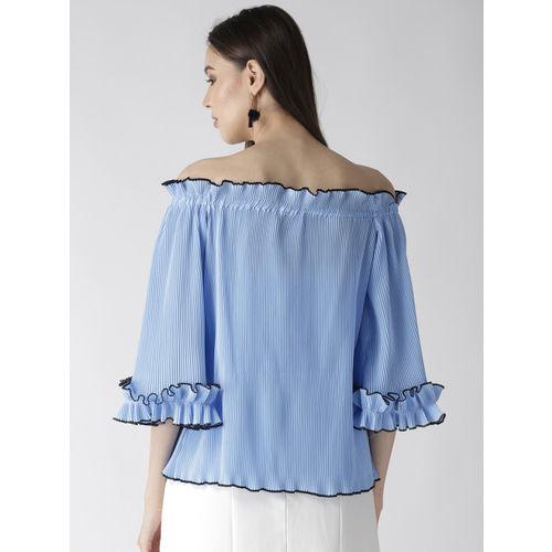 plusS Women Blue Solid Accordion Pleat Bardot Top