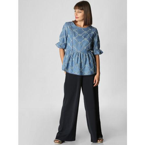 Vero Moda Women Blue Self-Design Chambray Top