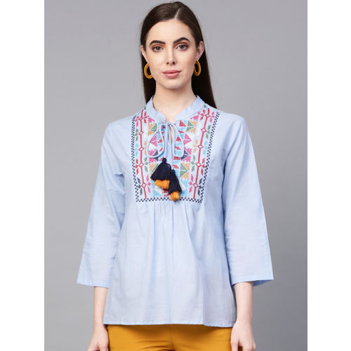 Bhama Couture Women Blue Embroidered Cotton A-Line Top