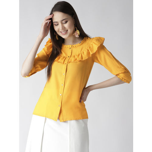 plusS Women Mustard Yellow Solid Shirt Style Top