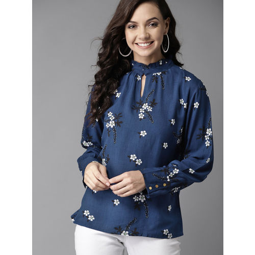 HERE&NOW Women Navy Blue & White Printed Top