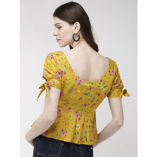 20Dresses Women Mustard Yellow Printed Top