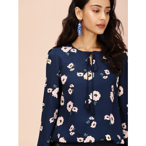 all about you from Deepika Podukone Women Navy Blue & Pink Printed Top