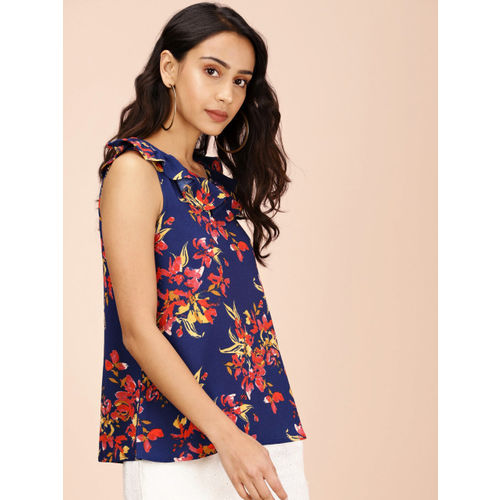 all about you Women from Deepika Padukone Navy Blue & Red Printed A-Line Top