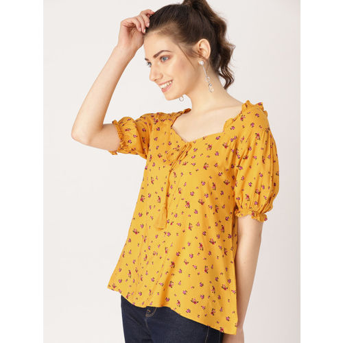 DressBerry Women Mustard Yellow & Pink Printed Regular Top