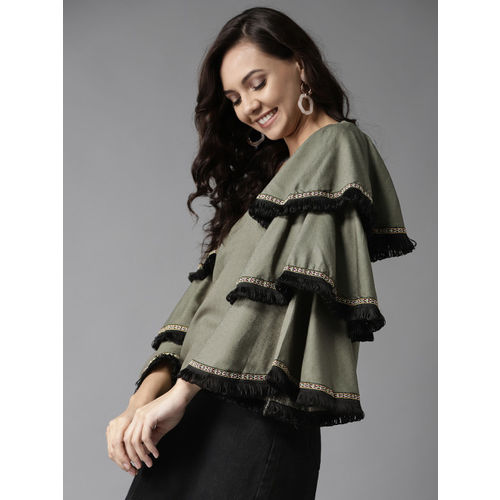 HERE&NOW Women Olive Green Self Design Top