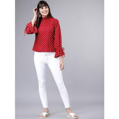 Tokyo Talkies Women Red & White Polka Dot Printed Top
