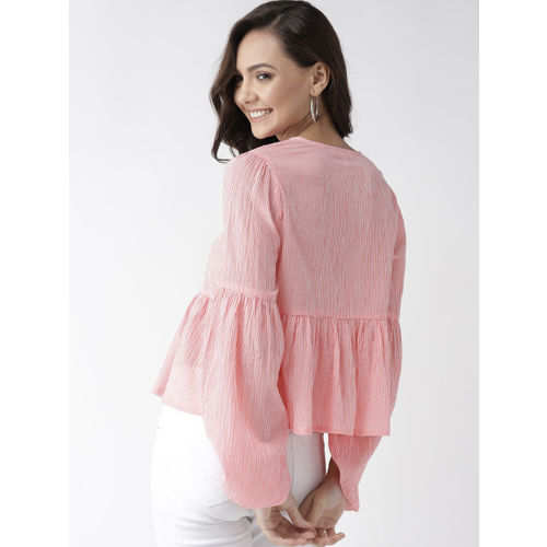 Mast & Harbour Women Pink & White Striped A-Line Top