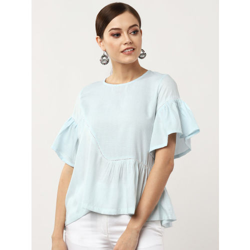 Sangria Women Blue Self-Checked A-Line Top