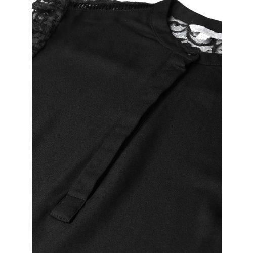 Mast & Harbour Women Black Solid Lace Detail Top