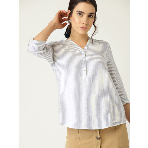 ESPRIT Women White Striped Shirt Style Top