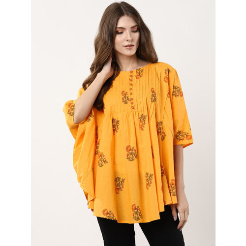 Sangria Women Mustard Yellow & Orange Printed Kaftan Top