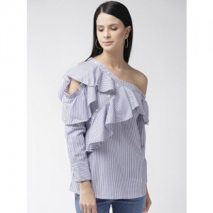 plusS Women Blue & White Striped One-Shoulder Top