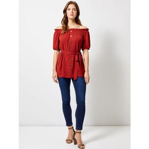 DOROTHY PERKINS Women Rust Red Solid Longline Bardot Top