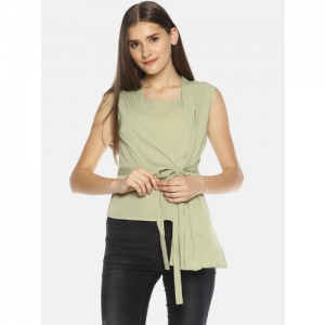 SAHORA Women Olive Green Solid A-Line Top