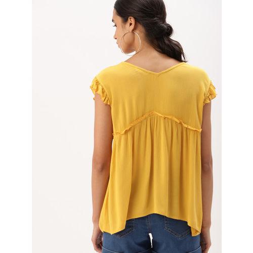 DressBerry Women Yellow Solid Empire Top