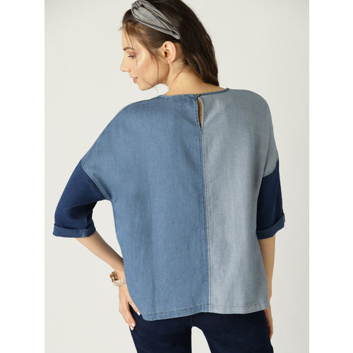 ESPRIT Women Blue Colourblocked Chambray Boxy Top