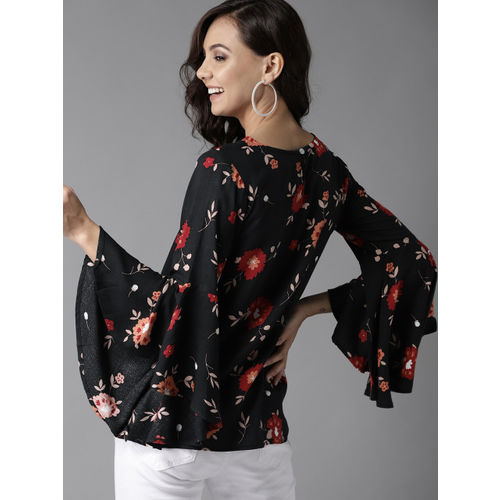 HERE&NOW Women Black & Red Printed Top