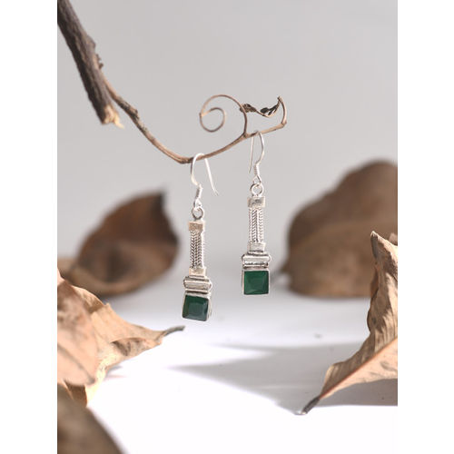 Silverholic Silver-Toned & Green Handcarfted Square Drop Earrings