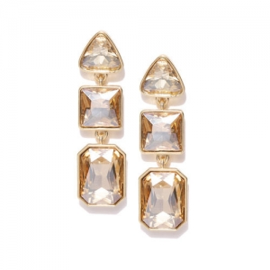 DressBerry Gold-Toned Stone-Studded Geometric Drop Earrings