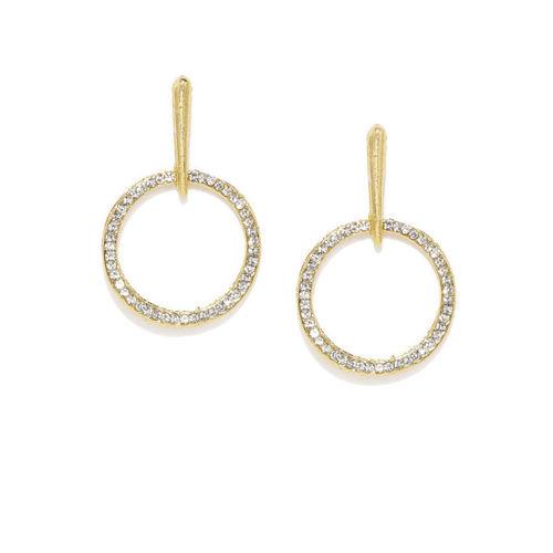 Zaveri Pearls Gold-Toned Circular Drop Earrings