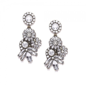 DressBerry Silver-Toned & Gunmetal-Toned Stone-Studded Contemporary Drop Earrings