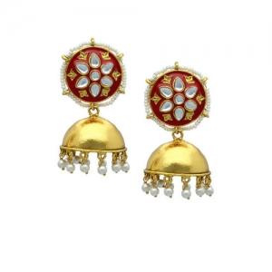477630f24e9e1 Buy Melani Borsa White 18k Gold-Plated Handcrafted Kundan Stone ...