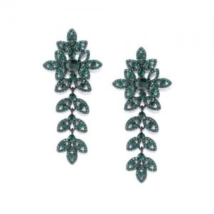 DressBerry Green & Black Stone-Studded Floral Drop Earrings
