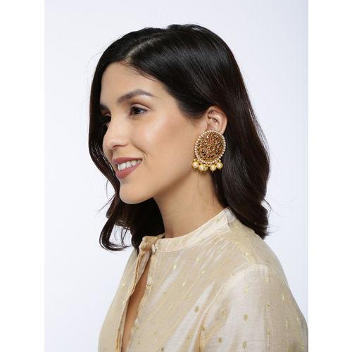 Zaveri Pearls Gold-Toned Circular Traditional Dangling Pearl Drop Earrings