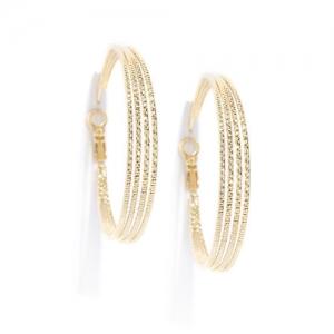DressBerry Gold-Toned Textured Circular Hoop Earrings
