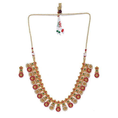 Zaveri Pearls Red Gold Plated Jewellery Set