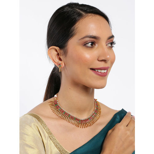 Zaveri Pearls Gold-Toned & Red Traditional Jewellery Set